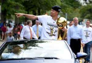 Green brought the Larry O'Brien trophy to North Babylon, NY last summer.